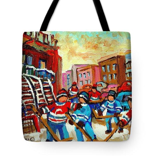 Whimsical Hockey Art Snow Day In Montreal Winter Urban Landscape City Scene Painting Carole Spandau Tote Bag by Carole Spandau