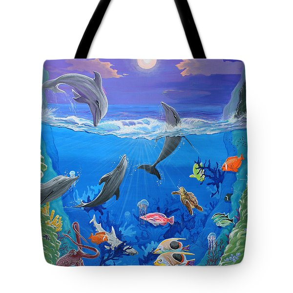 Whimsical Original Painting Undersea World Tropical Sea Life Art By Madart Tote Bag by Megan Duncanson