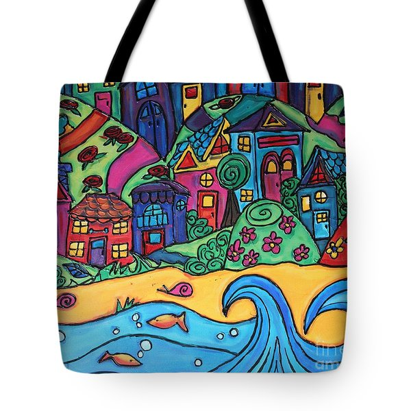 Whimsical Town Sectional  Tote Bag