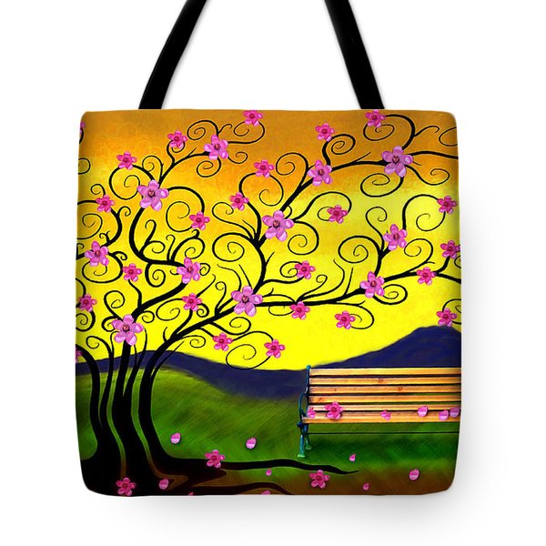 Whimsy Cherry Blossom Tree-2 Tote Bag by Nina Bradica