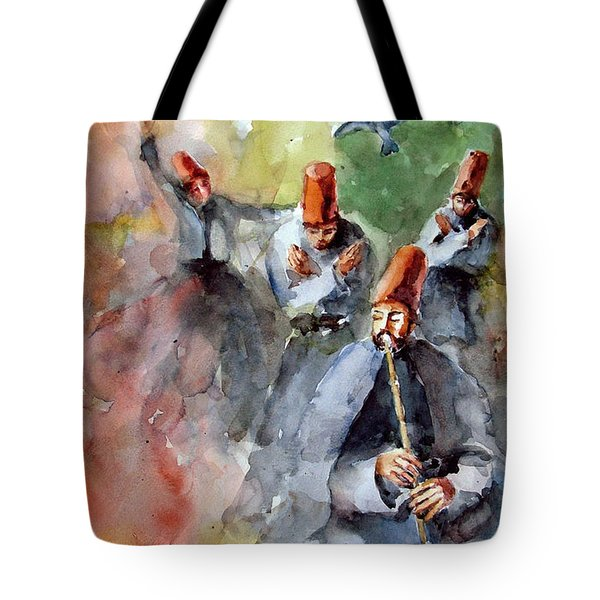 Whirling Dervishes And Pigeons         Tote Bag by Faruk Koksal