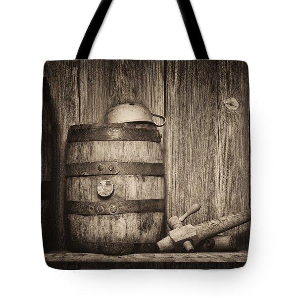 Whiskey Barrel Still Life Tote Bag by Tom Mc Nemar
