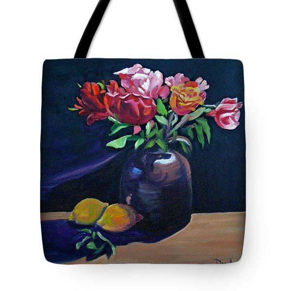 Whiskey Jug Roses With Lemons Tote Bag