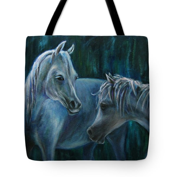 Tote Bag featuring the painting Whispering... by Xueling Zou