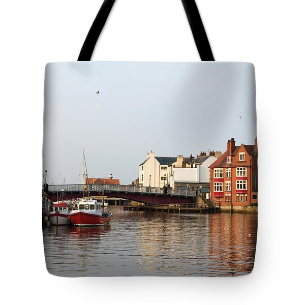 Whitby Harbour Tote Bag by Jane McIlroy