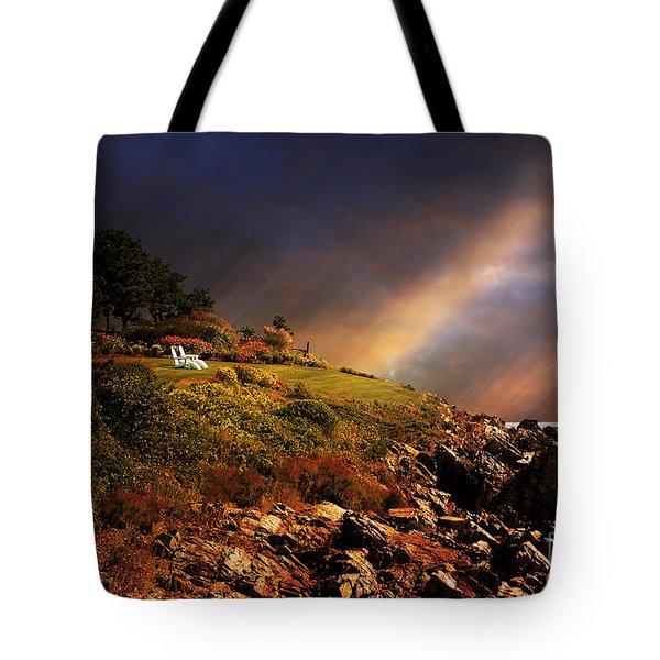 White Adirondacks Tote Bag by Lois Bryan