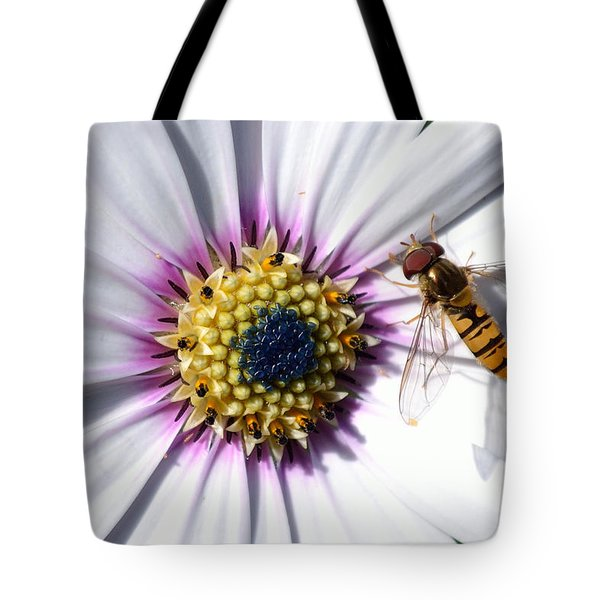 Tote Bag featuring the photograph White African Daisy Marmalade Fly by Scott Lyons