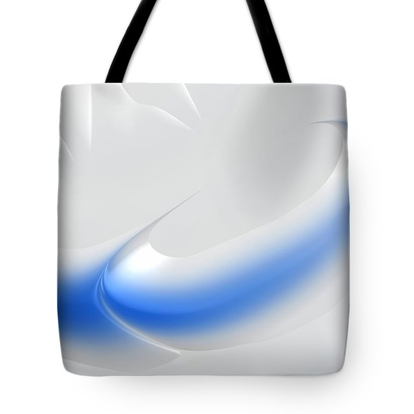 White And Blue Abstract Art Decorative Winter Color Theme Tote Bag by Matthias Hauser