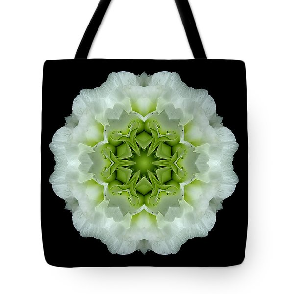 White And Green Begonia Flower Mandala Tote Bag by David J Bookbinder