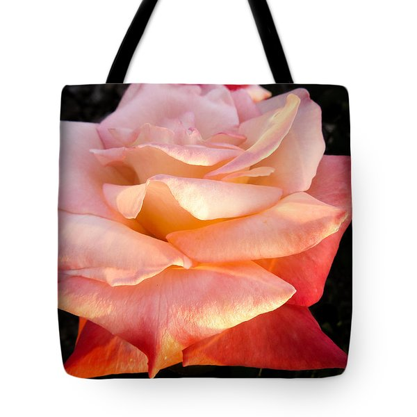 White And Peach Tote Bag by Zina Stromberg