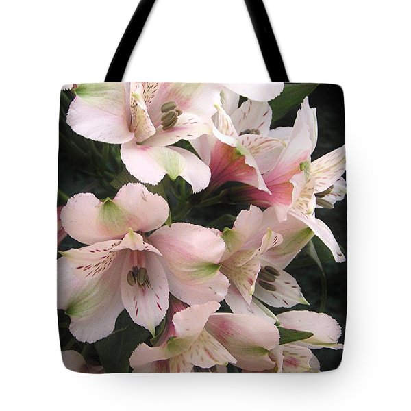 White And Pink Peruvian Lilies Tote Bag by Diane Alexander