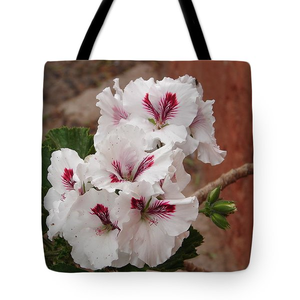 Tote Bag featuring the photograph White And Red Geraniums by Lew Davis