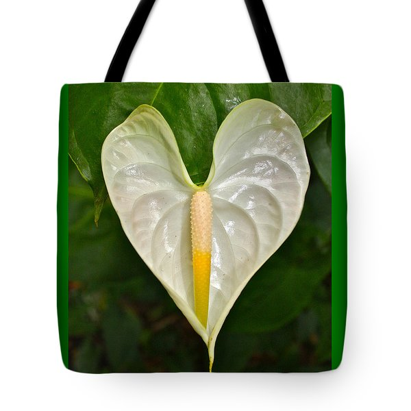 White Anthurium Heart Tote Bag by Venetia Featherstone-Witty