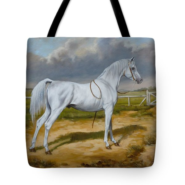 White Arabian Stallion Tote Bag