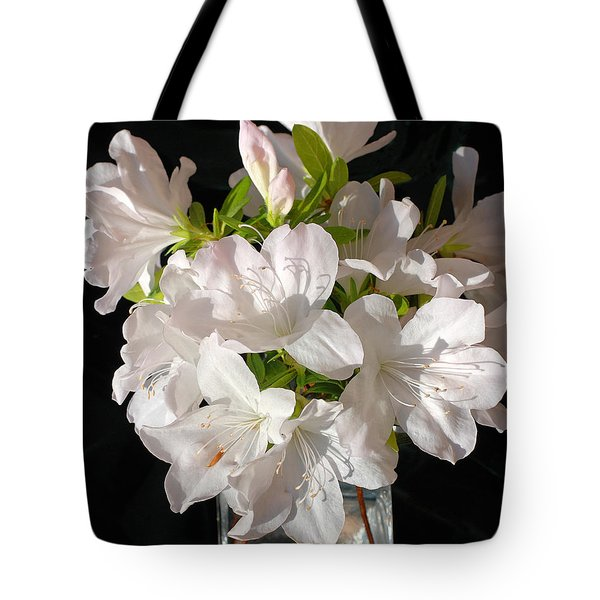 White Azalea Bouquet In Glass Vase Tote Bag by Connie Fox