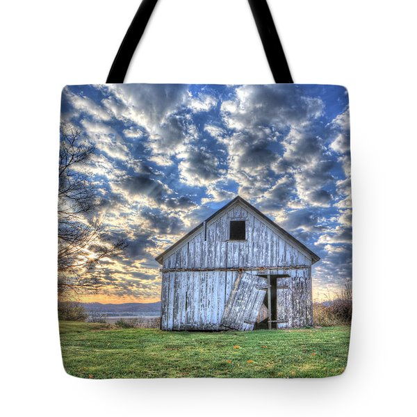 Tote Bag featuring the photograph White Barn At Sunrise by Jaki Miller