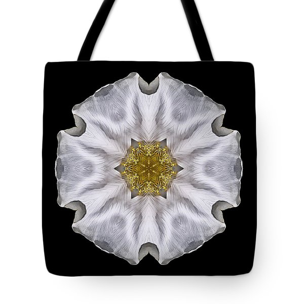 White Beach Rose I Flower Mandala Tote Bag