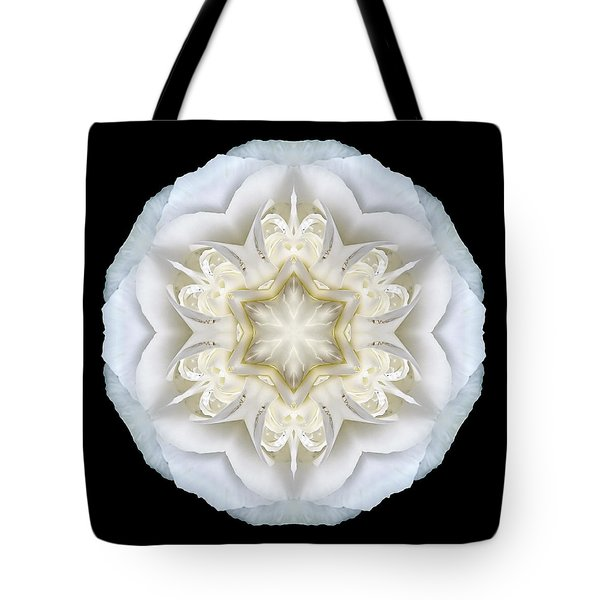 White Begonia II Flower Mandala Tote Bag