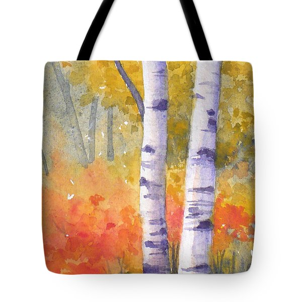 White Birches In Autumn Tote Bag