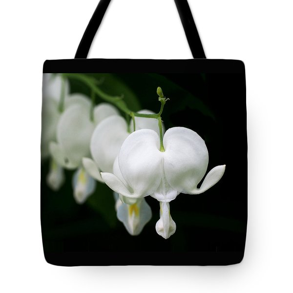 White Bleeding Hearts Tote Bag by Rona Black