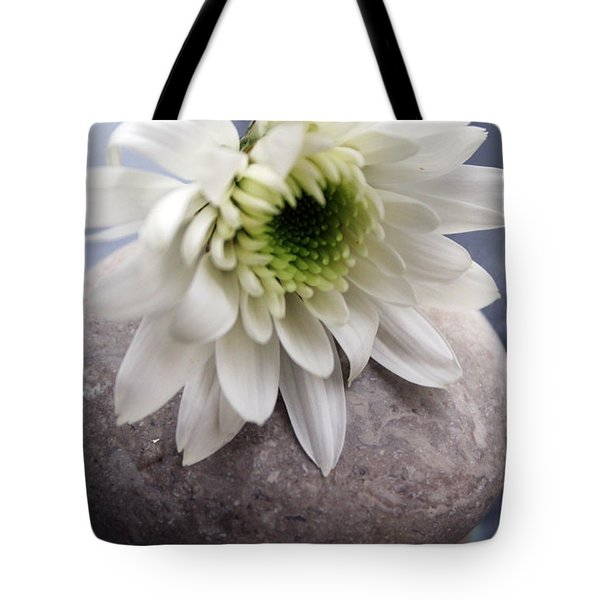 White Blossom On Rocks Tote Bag by Linda Woods