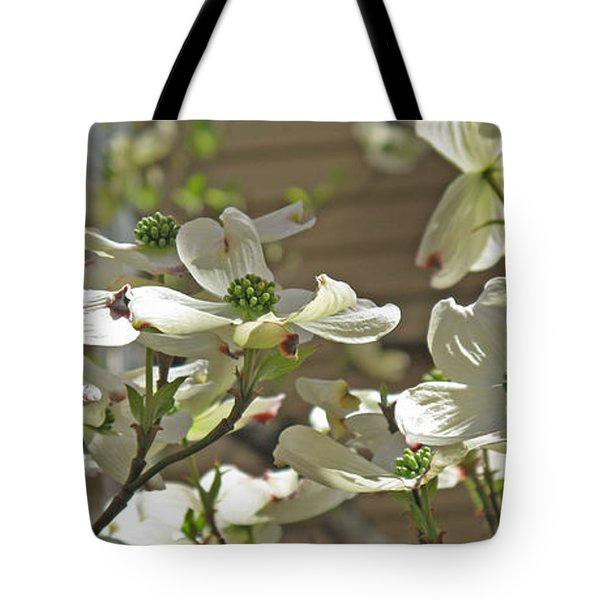 White Blossoms Tote Bag by Barbara McDevitt