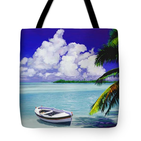 Tote Bag featuring the painting White Boat On A Tropical Island by David  Van Hulst