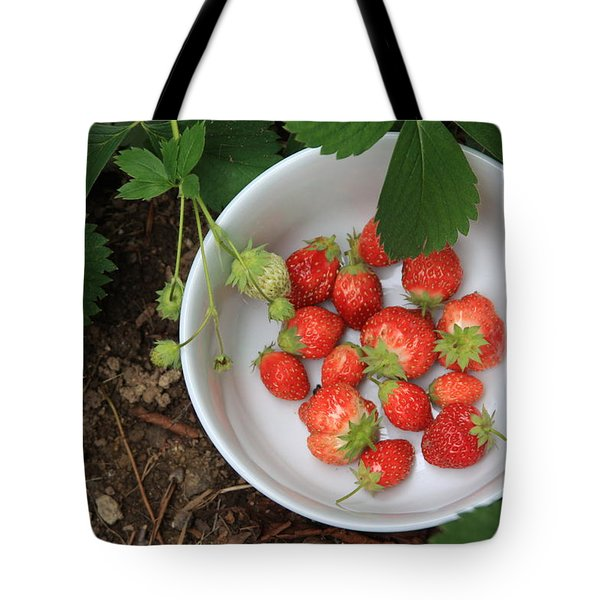 White Bowl With Strawberries Tote Bag