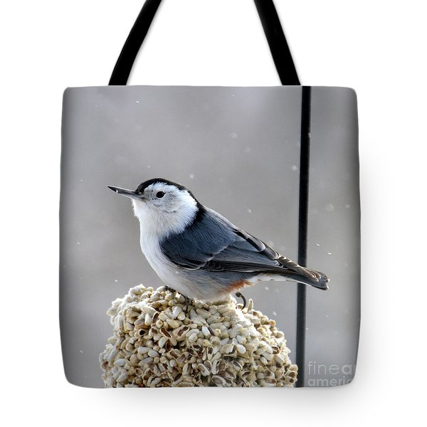 Tote Bag featuring the photograph White-breasted Nuthatch by Dorrene BrownButterfield