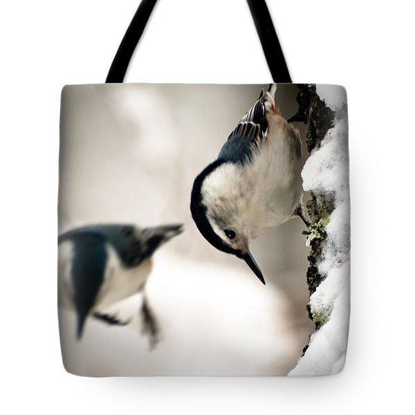 White Breasted Nuthatch In The Snow Tote Bag by Bob Orsillo