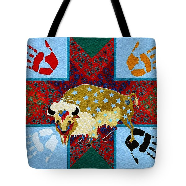 Tote Bag featuring the painting White Buffalo Calf Legend by Chholing Taha