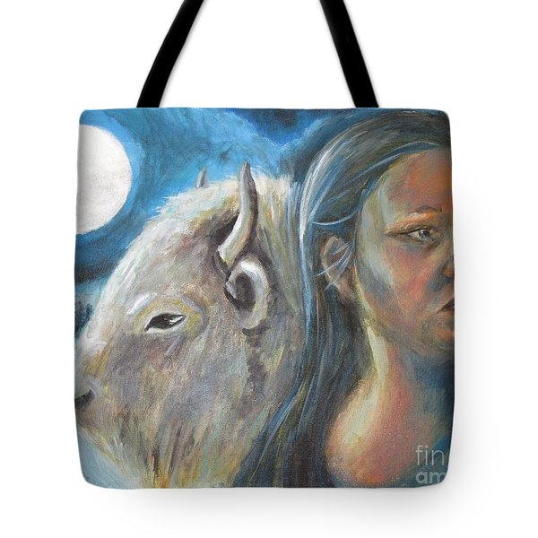 White Buffalo Portrait Tote Bag