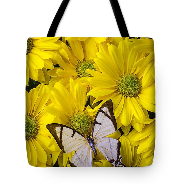 White Butterfly On Yellow Mums Tote Bag by Garry Gay