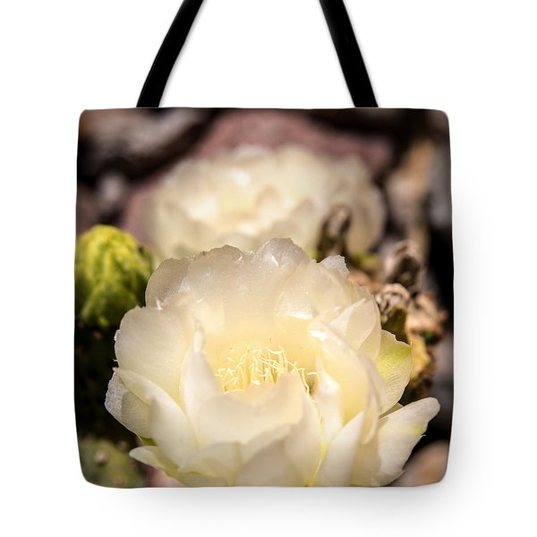 White Cactus Rose Tote Bag by  Onyonet  Photo Studios
