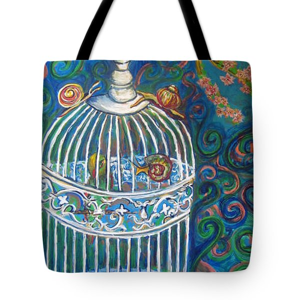 White Cage Tote Bag by Cherie Sexsmith