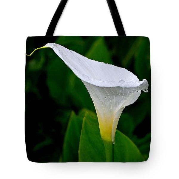 White Calla Tote Bag by Rona Black