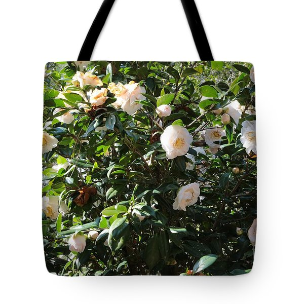 White Camellias Tote Bag by Carol Groenen