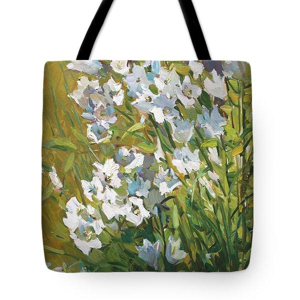 White Campanulas Tote Bag