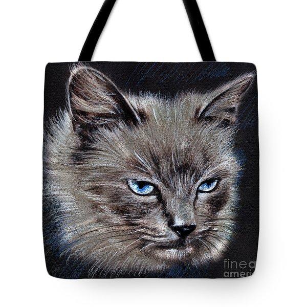 White Cat Portrait Tote Bag