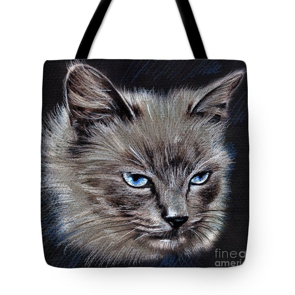 White Cat Portrait Tote Bag