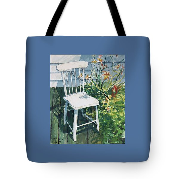 Tote Bag featuring the painting White Chair And Day Lilies by Joy Nichols