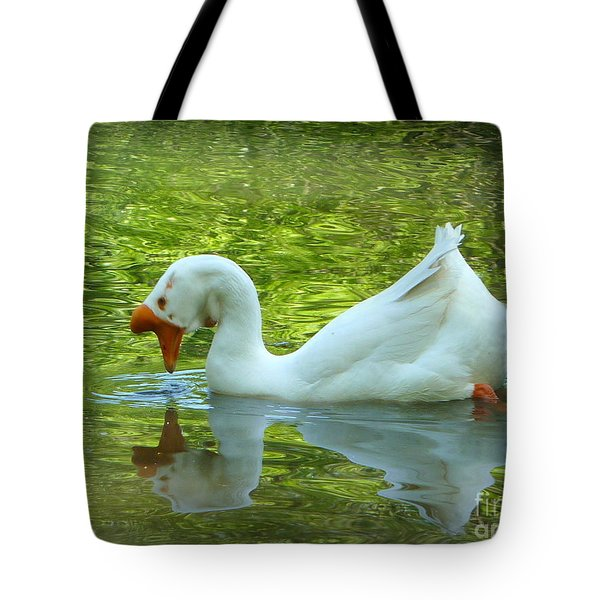 White Chinese Goose Curtsy  Tote Bag