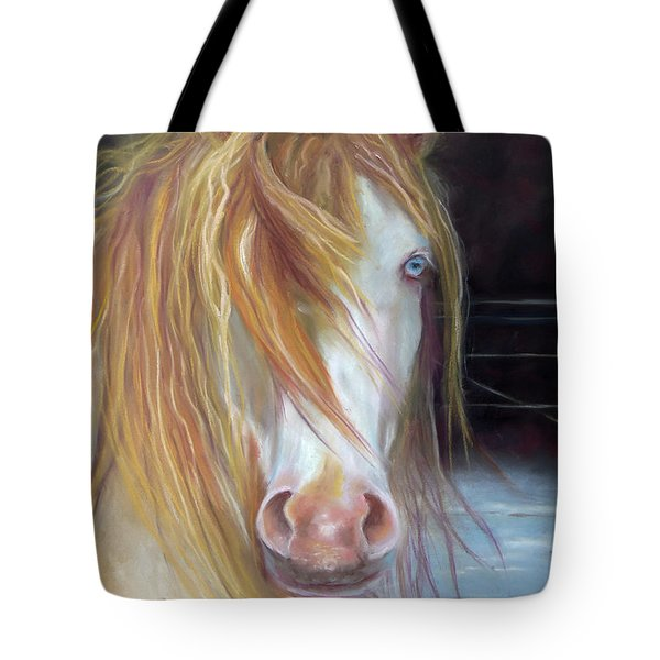 Tote Bag featuring the painting White Chocolate Stallion by Karen Kennedy Chatham