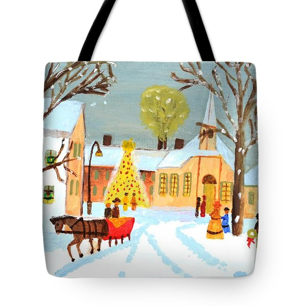 Tote Bag featuring the painting White Christmas by Magdalena Frohnsdorff