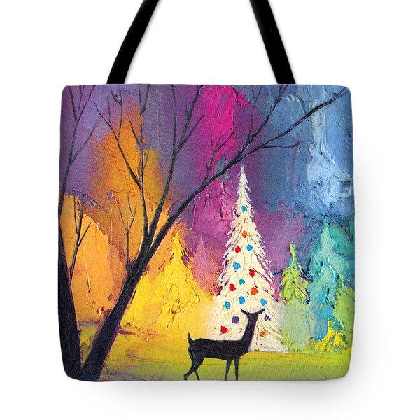 White Christmas Tree Tote Bag by Munir Alawi