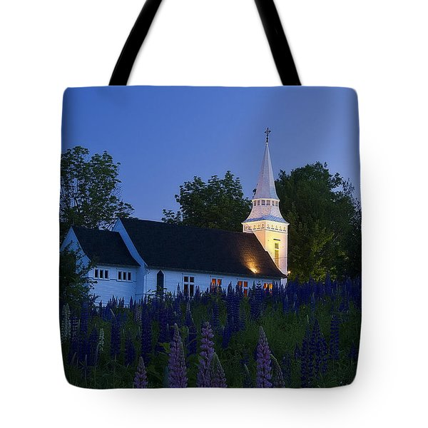 White Church At Dusk In A Field Of Lupines Tote Bag