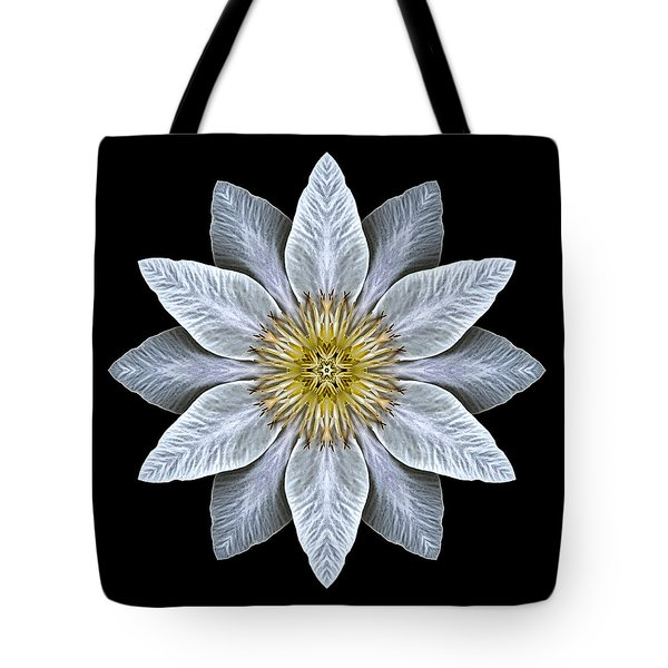 White Clematis Flower Mandala Tote Bag