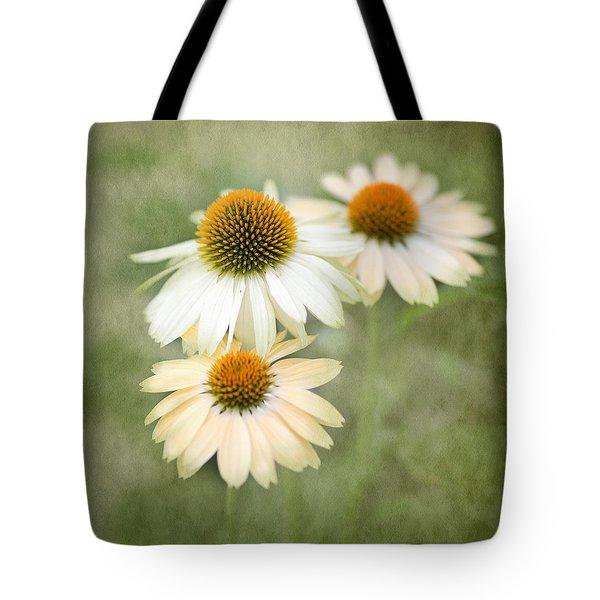White Coneflower Trio Tote Bag