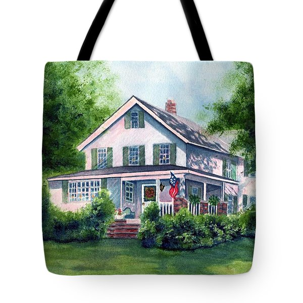 White Country Farmhouse Tote Bag by Janine Riley