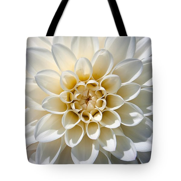 Tote Bag featuring the photograph White Dahlia by Carsten Reisinger